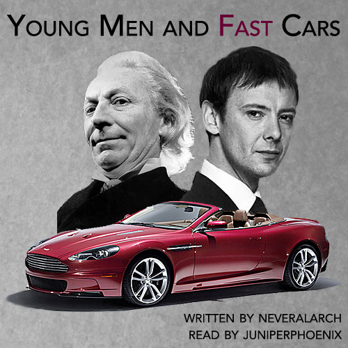Cover art of the First Doctor and Simm!Master with a red Aston Martin convertible