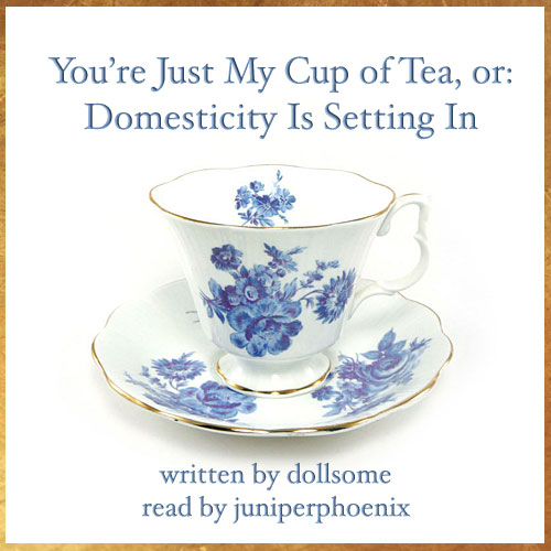 Cover art of a teacup. Text reads: 'You're Just My Cup of Tea, or: Domesticity Is Setting In. Written by dollsome. Read by juniperphoenix.'